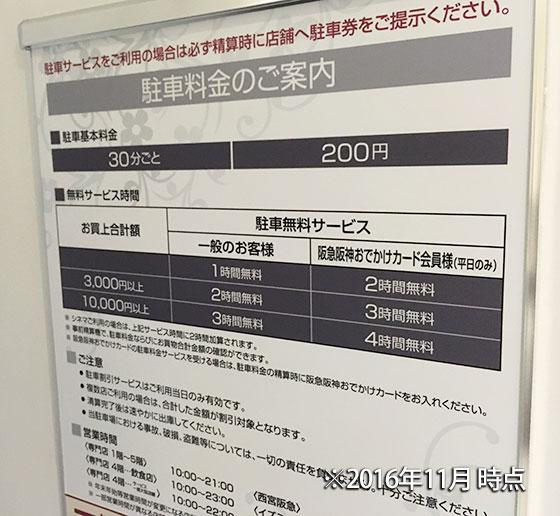 阪急西宮ガーデンズ駐車料金