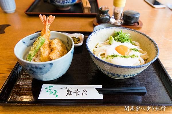 山かけうどん+天丼