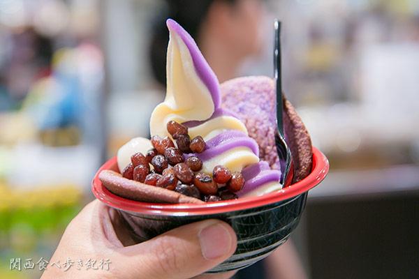 紅芋琉堂の紅芋どら焼きソフトクリーム