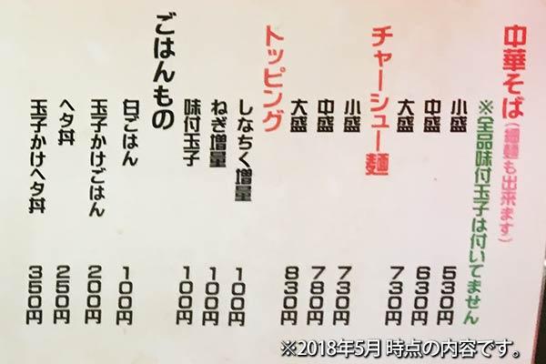 中華そば 麺屋7.5Hz+メニュー
