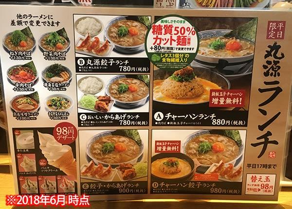 丸源ラーメン都島店メニュー
