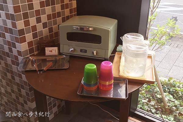 パンを温めるオーブンなどが設置